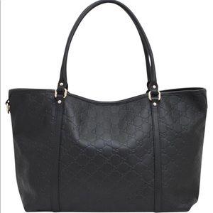 100% Authentic Black Guccisima Leather Handbag